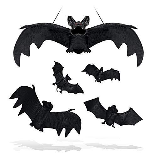 SZILBZ Halloween Fledermäuse,5 Stücke Realistische schauende gespenstische hängende Fledermäuse für Partyartikel und Dekoration