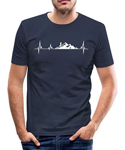 Wandern Herzschlag Bergwanderer Berge EKG Männer Slim Fit T-Shirt, S, Navy