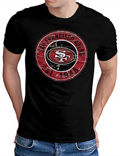 OM3® - San Francisco Badge - T-Shirt | Herren | American Football Shirt | Schwarz, XL
