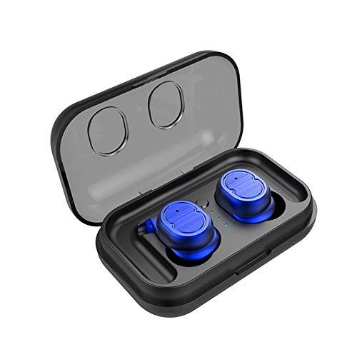 DSAEFG Auricular Bluetooth V5.0 Estéreo Mini Auricular Deportes IPX5 Auriculares In-Ear a Prueba de Agua con Estuche de Carga para iPhone Android (Color : Blue)