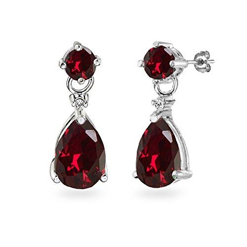 Sterling Silver Synthetic Ruby Teardrop Dangle Earrings
