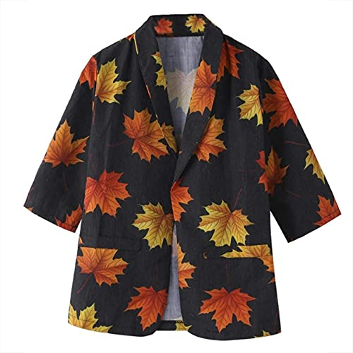 HONGJ Chaqueta de manga larga con estampado de hojas de arce para mujer, Negro, 40