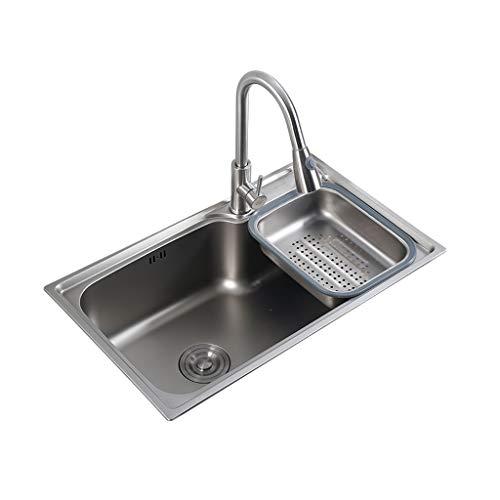 zhanMa Fregadero teka 620mm X 430mm Fregadero De La Cocina con Grifo De Agua, De Acero Inoxidable 304 De Una Taza, Encimera ERYωορκτο-12-012-L (Color : Tap3)