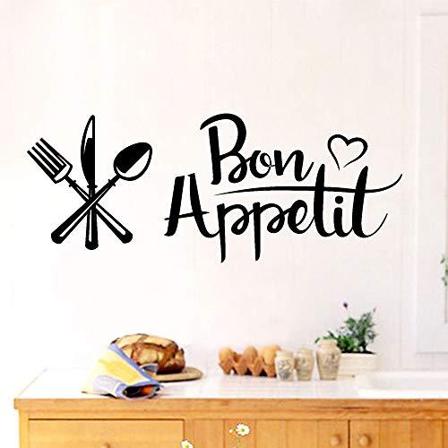 N\A Letras francesas Buen apetito Pegatinas de Pared Bon apetito calcomanías de decoración de Cocina Pegatinas de Talla Autoadhesivas murales de Arte para el hogar