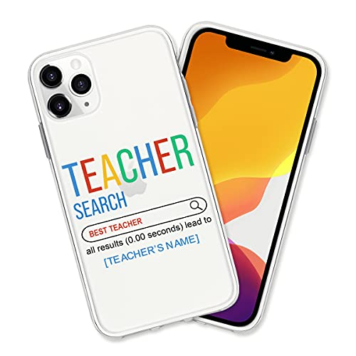 Personalized Name Best Teacher Phone Case, Unique Teacher Search Cover, Funny Graduation Shockproof Case, Compatible with iPhone 7 8 Plus X XR 11 12 Pro Max Samsung Galaxy S20 S21