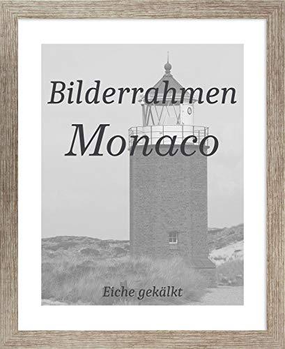 Homedeco-24 Monaco MDF Bilderrahmen ohne Rundungen 55 x 78 cm Größe wählbar 78 x 55 cm Eiche Gekälkt mit Antireflex-Acrylglas 1 mm
