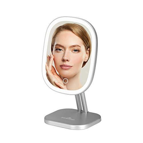 Impressions Touch Highlight Schminkspiegel mit LED-Licht, Schminkspiegel mit Standfuß und USB-Kabel (Silber)