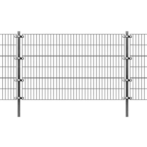 vidaXL Panel Valla Postes 6x0.8 m Metal Gris Cerca Cercado Vallado Reja Malla