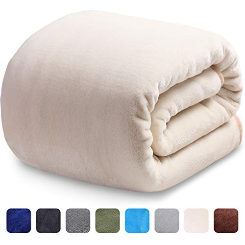 LEISURE TOWN Fleece Blanket King Size Fuzzy Soft Plush Blanket Oversized 330GSM for All Season Spring Summer Autumn Throws for Couch Bed Sofa, 108 by 90 Inches, Ivory