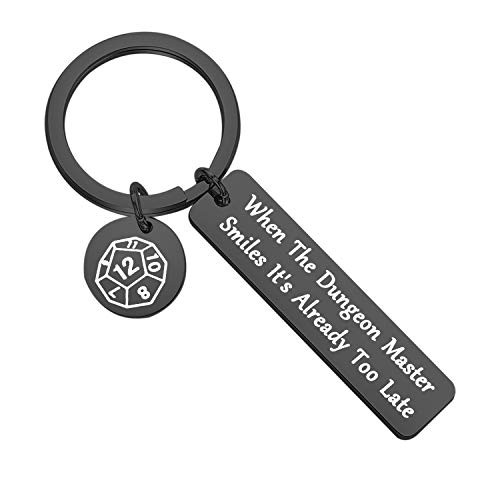 When The Dungeon Master Smiles It's Already Too Late Keychain Dungeon Master Gift Funny Dungeons and Dragons Gifts (Dungeon Master-black key)