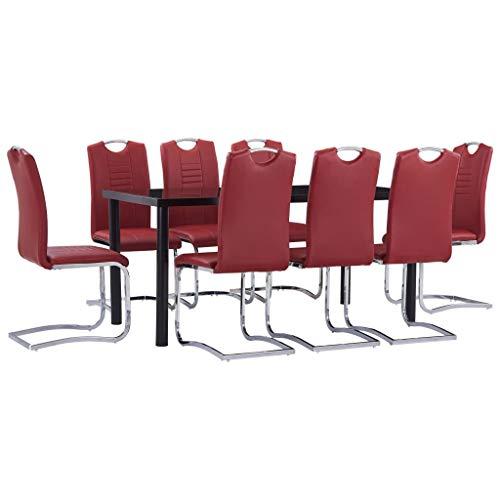 vidaXL Sala da Pranzo Set 9pz Sedute Sedie Mobili Cucina Mensa Tavolo Tavola Seggiole Pub Bar Ristorante Arredo Panche Arredamento in Similpelle Rosso
