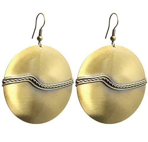 2LIVEfor Ohrringe Blätter rund lang hängend Ohrringe Blatt antik gold Ohrringe Ethno in Tropfenform verziert Ohrringe Bohemian Vintage Ohrhänger Kugeln Lang Rund Ornamente