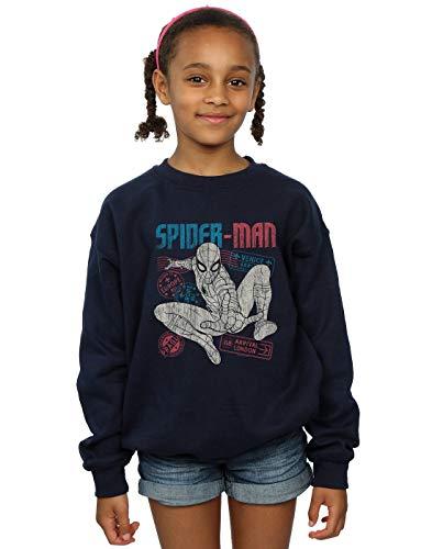 Marvel Mädchen Spider-Man Far from Home Distressed Passport Sweatshirt Navy Blau 12-13 Years