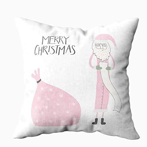 N\A Funda de Almohada navideña, Fundas de Almohada navideñas Divertido Papá Noel Lectura de Regalos Lista Saco Cita Feliz Navidad Objetos aislados Decoración Blanca Fundas de Almohada