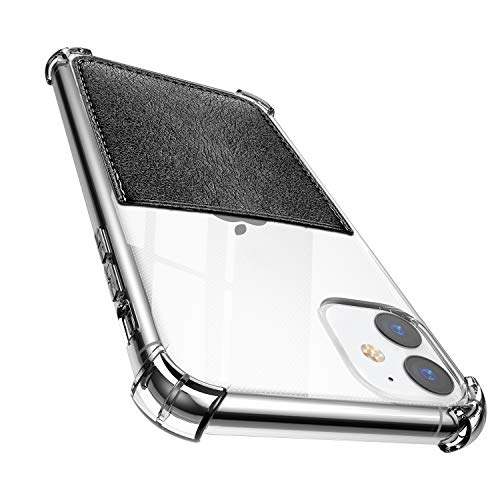 ANHONG iPhone 11 Clear Case with Card Holder, [Slim Fit] Protective Soft TPU Shockproof Wallet Case with Vegan Leather Card Slot for iPhone 11 6.1 Inch (2019)