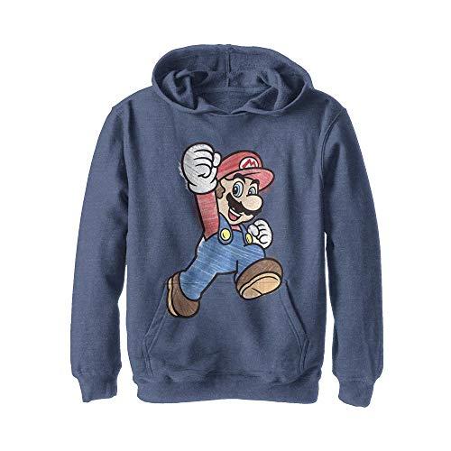 Nintendo Boys' Hooded Pullover Fleece, Navy Heather, Small