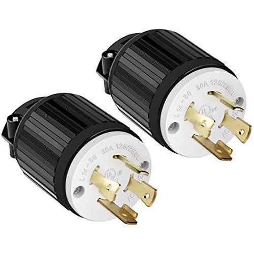 ENERLITES NEMA L14-30P Locking Plug Connector for Generator, Twist Lock Male Plug, 30 Amp, 125/250 Volt ,3 Pole, 4 Wire Grounding, Industrial Grade Heavy Duty, UL Listed, 66470-BK, Black, 2 Pack