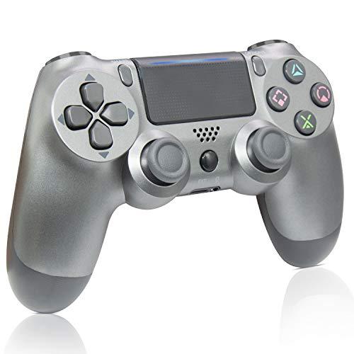 Mando PS4, Mando inalámbrico Gamepad para Playstation 4 /Windows PC /Android/iOS, Acero Negro (Steel Black)