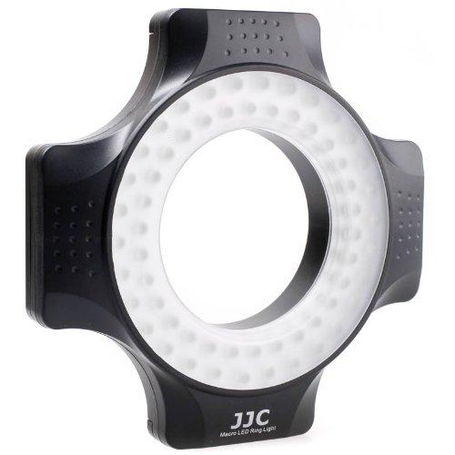 JJC LED-60 Dimmbares LED Makro-Ringlicht (Ringleuchte, Dauerlicht) für DSLR- & Systemkamera 650 Lux (60cm)