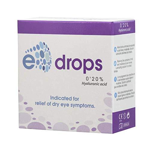 E-Drops Monodosis, Elentillas, Gotas Oculares Humectantes, Ácido Hialurónico, Calma Ojos Secos, 20 ampollas de 0.4 ml