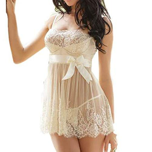 Berrose-Damen Bridal Mesh Spitzenkleid Häkeln Kleid Nachtwäsche Bademäntel Unterwäsche Morgenmantel Kimono Bademantel Satin Nachthemd Schlafanzüge mit Blumenspitze