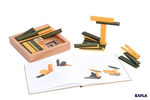 KAPLA JL+JP Holzplättchen, 40er Box, 20 gelb und 20 grün + Buch - 5
