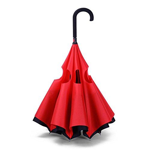 JAYLONG Paraguas de Viaje 8 Costillas de Doble Capa Reverse Sturdy Construcción de Acero Inoxidable portátil Secado rápido Secadora Impermeable Paraguas para Mujeres, Hombres, niños y niños, B
