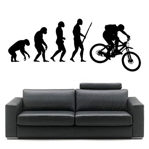 ASFGA Evolution Darwin Mountainbike Evolution Vinyl Wandkunst Aufkleber Zimmer Aufkleber Kreatives Schlafzimmer Home Decor Club Gym Wandbild Wallpaper 57X143cm