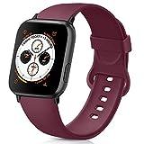 AK Compatible Apple Watch Bracelet 42mm 38mm 44mm 40mm, Bracelet de Sport en Silicone Remplacement Compatible la série 4, la série 3, la série 2 et la série 1 d'iWatch (02 Vin Rouge, 42/44mm M/L)