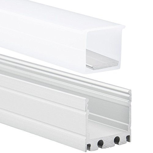 LED Aluminium Profil IP65 P8 Kocab LED Aluprofil 2m für LED Streifen bis zu 13mm inkl. Abdeckung Opal (milchige Abdeckung) & H20 Silikon Endkappen LED-Profil IP65