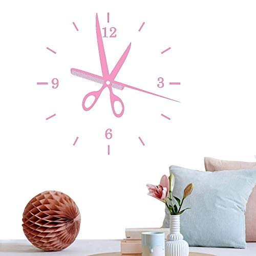 Creative Art Salon Etiqueta de la pared Reloj de peluquería Etiqueta de la pared Baeber Shop Decoración Belleza Cortes de pelo Mural Decoración de pared F 84 * 84cm