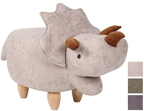 CLP Taburete Triceratops Infantil Daloa En Simil Cuero En Efecto Vintage I Otomana Infantil En Forma De Dinosaurio I Puff Acolchado I Color: Gris