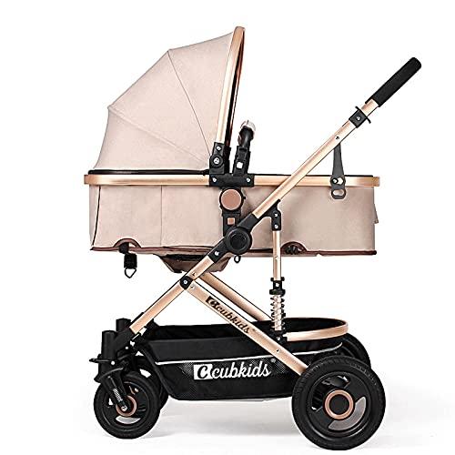 GFHJ1201 Cochecito De Bebé, Cochecito De Bebé Ajustable con Parasol, Sistema De Yiaje De Bebé Reversible, Ligero Y Plegable con Cesta Grande(Color:Caqui Claro)