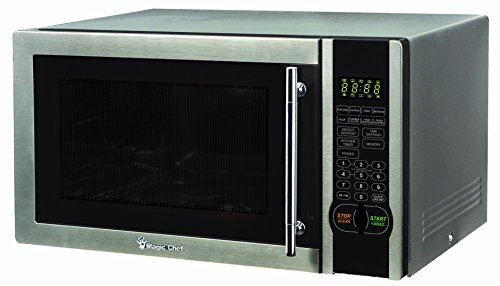 Magic Chef MCPMCM1110ST Mcm1110St 1.1 Cubic Feet 1000W Stainless Microwave with Digital Touch, 1.1 cu. ft, Black