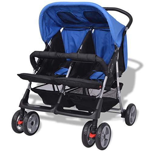 Festnight Klappbar Zwillingswagen Baby Zwillingskinderwagen Kinderwagen 93 x 68 x 103 cm Geeignet für 1-2 Kinder bis zu jeweils 15kg