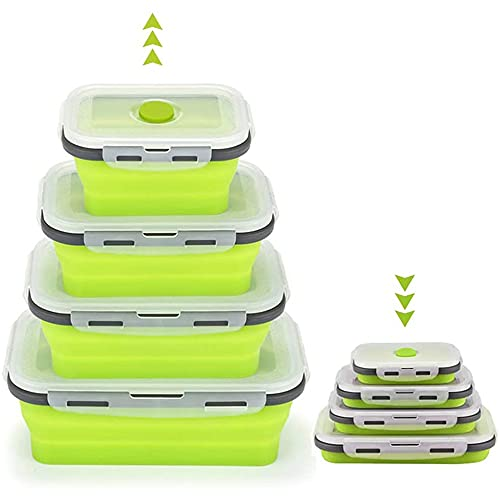 NAINAIWANG Set of 4 Collapsible Silicone Food Storage Container Leftover Meal Lunch Box For Kitchen Bento Lunch Boxes BPA Free Microwave Freezer Safe Foldable Design Saves Your Spac