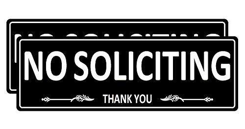 (2 Pack) No Soliciting Sign for House Door, Metal Self-Adhesive No Solicitation Signs for Business Home, 7.5 x 2.5 inches Aluminum No solicitors Signs for Office Gate Window, No Fade Rust Free