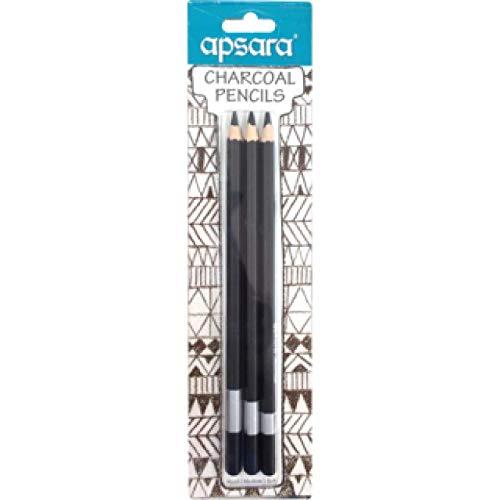 Apsara Charcoal Pencils (Pack of 3 Pkt) - 9 Pencils