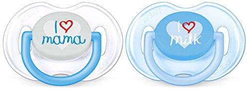 Philips Avent Classic - Set De 2 Chupetes Decorados, Para Niños De 0 A 6 Meses, Pack de 2, Translúcido/Azul