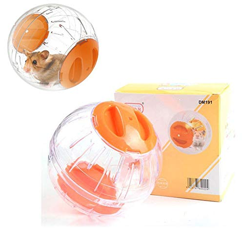 JUILE YUAN Hamster Exercise Ball, Silent Hamster Mini Running Activity Exercise Ball 4.72 inch Toy Transparent Hamster Ball Dog Special Toy Ball Small Animals Cage Accessories (Orange)
