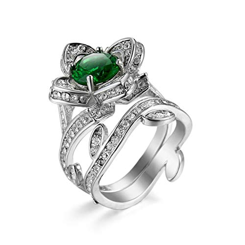 Daesar Ladies Wedding Bands, Plated 18ct White Gold Rings for Women Hollow Rose Flower Green Round Shape Cubic Zirconia Ring Size L 1/2
