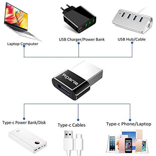 Rpanle USB zu USB C Adapter [4 Stücke] USB Typ C Adapter Kompatibel für iPhone 11/12 Pro Max, MacBook, Airpods, iPad Air, Schwarz