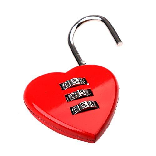 Gazechimp Liebesschloss Vorhangschloss in Herzform - 3-stellige rotes Herzschloss - geeignet für Gepäck, Rucksack, Schmuckschatullen, Hallenschrank, Werkzeugtruhen, Fitnessraum