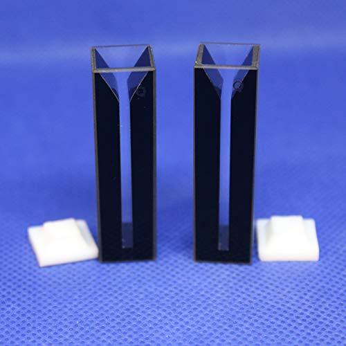 LAB4US Quartz Micro cuvette Cell Black Walls (2pcs) with Lid for spectrophotometer, Quartz Cuvettes Cells, 10mm Pathlength, 0.7ml,2 Clear Sides