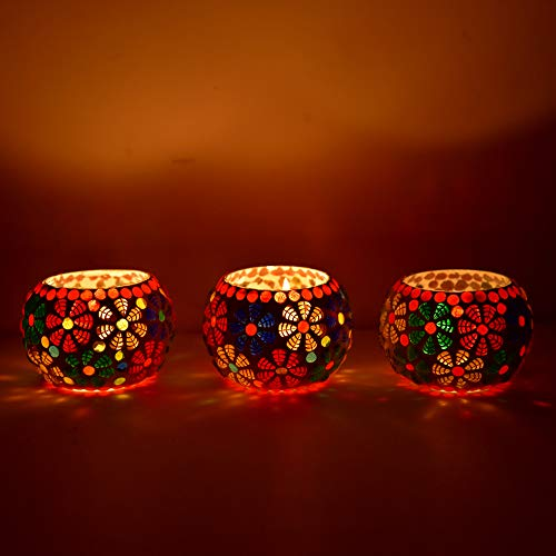 Shivam Lites Living Room Decorations Solid Glass Candle Holders Housewarming, 3 Inch (Multicolour) - Set of 3