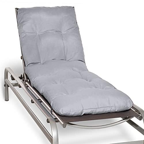 Beautissu Auflage für Gartenliege Flair RL - Deckchair Auflage 190x60x8 cm - Polster für Sonnenliege Liegestuhl Auflage für Gartenmöbel in Hellgrau