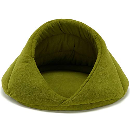 CHIYEEE Cat Small Dog Cosy Bed Pets Solid Fleece Warm Igloo House Puppy Kitten Hideout Cave, Green, 42 * 42 * 30cm