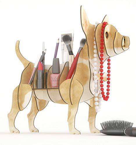 CHIHUAHUA BRAUN 3D Puzzle Organizer aus recyceltem Karton. Hundeständer oder Regal. Idee für den Schreibtisch, Regal für Schmuck, Federn oder Pflanzen, Veranstalter für Make-up