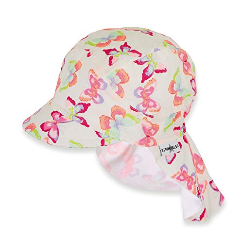 Sterntaler Schirmmütze für Mädchen mit Nackenschutz, Alter: 12-18 Monate, Größe: 49, Weiß