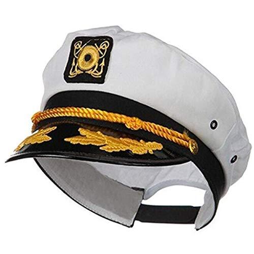 WARMWORD Sombrero de capitán de yate Ajustable para Marineros Gorra de mar Sombrero de capitán Azul Marino Adulto de Marinero Cosplay Accesorio de Traje Marinero Sombrero
